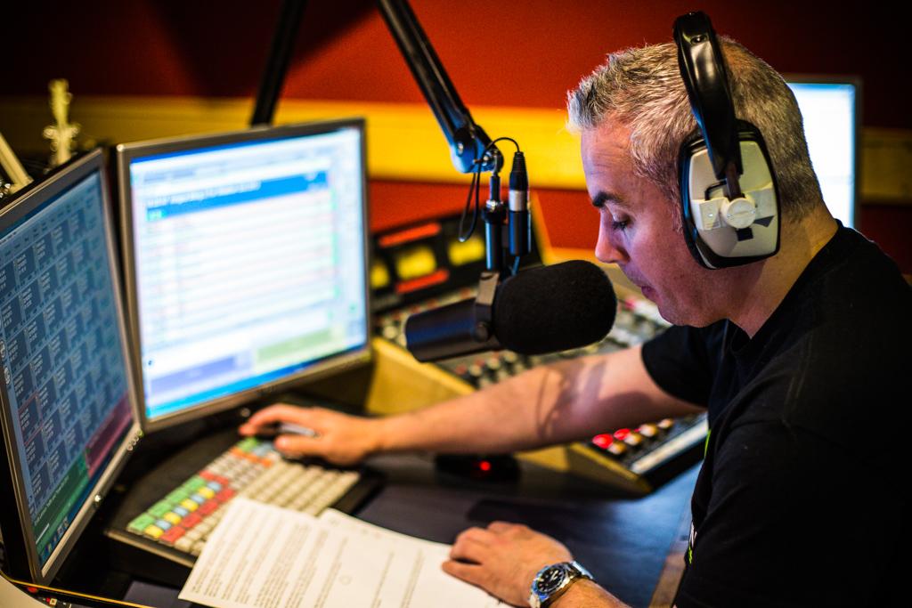 Shane Smyth on air at Ocean FM