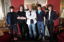 Shane pictured with The Strypes during their visit to Bundoran for Sea Sessions