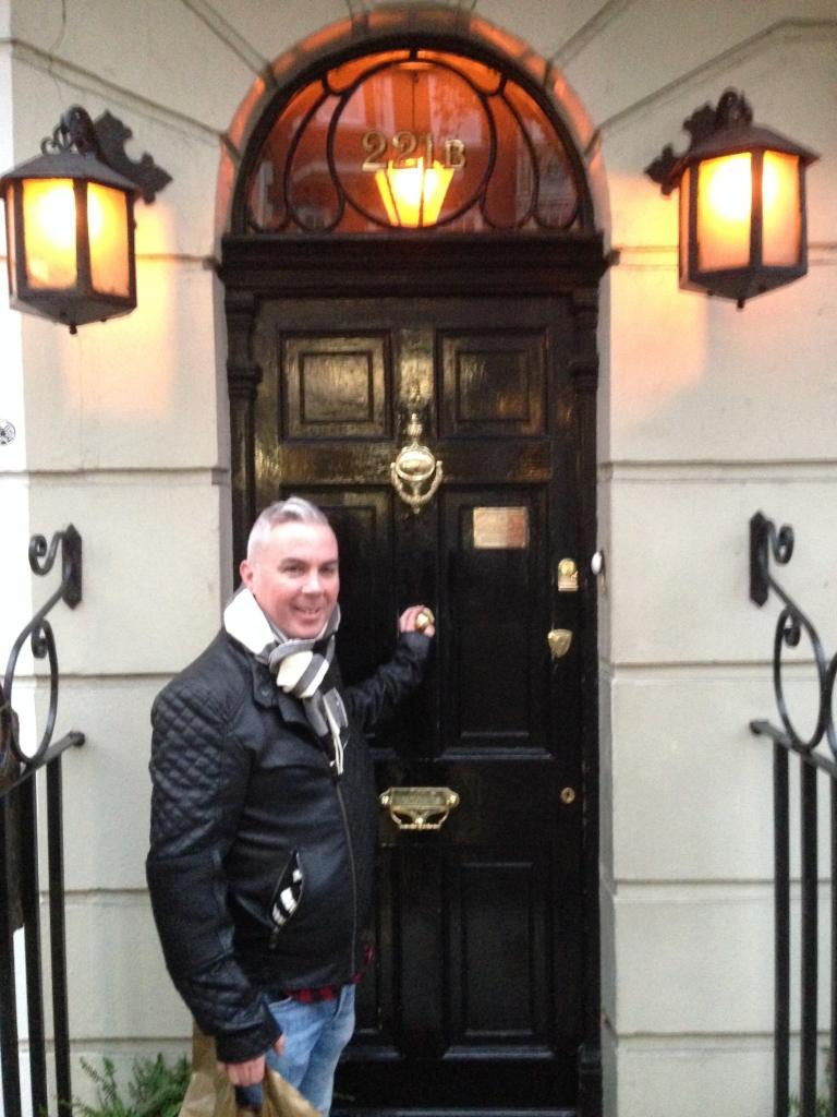 Outside the world famous 221b Baker Street, London - home of Sherlock Holmes.