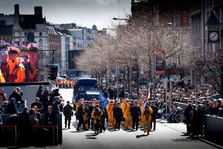 The RNLI team walk past the viewing stand on Easter Sunday - pic Tony Roddam