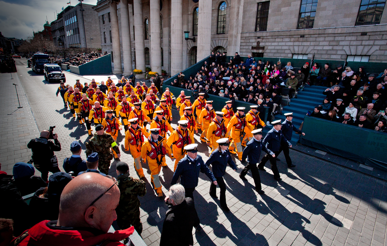 The RNLI taking part in the Easter Sunday Commemoration Parade 27th March 2016 - pic Tony Roddam