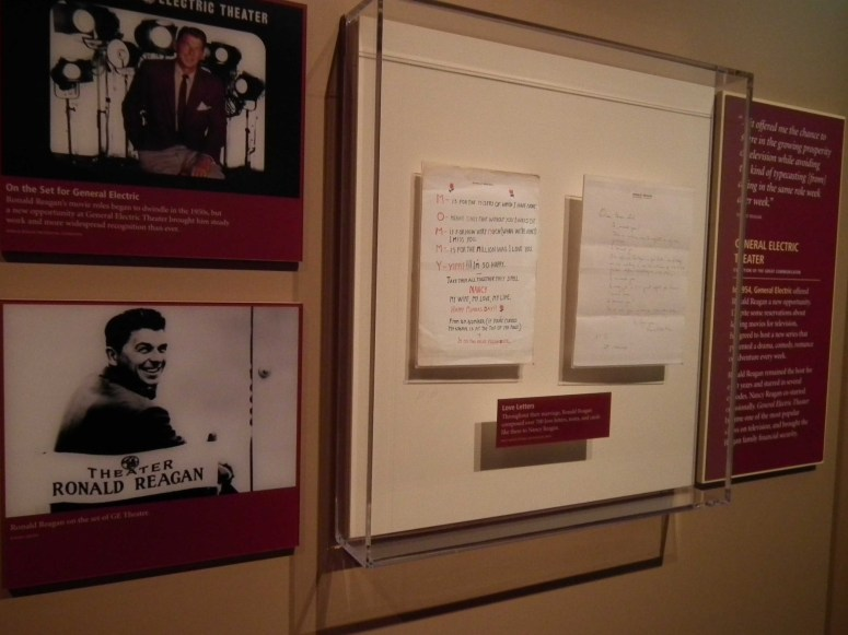 Love letters to Nancy on display in the Presidential Library.