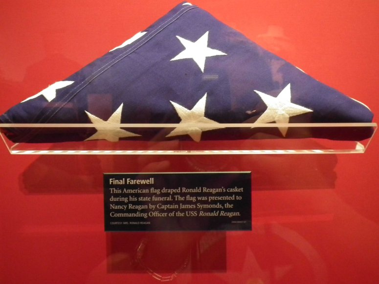 The flag which draped Ronald Reagan's casket following his death in June 2004.